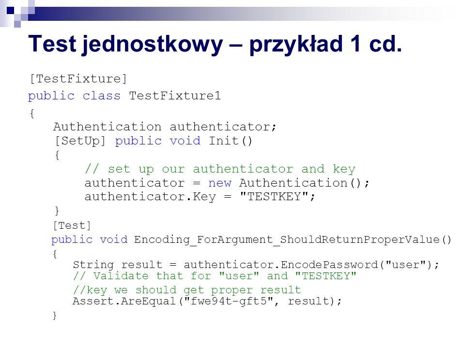 Test jednostkowy – przykład 1 cd.