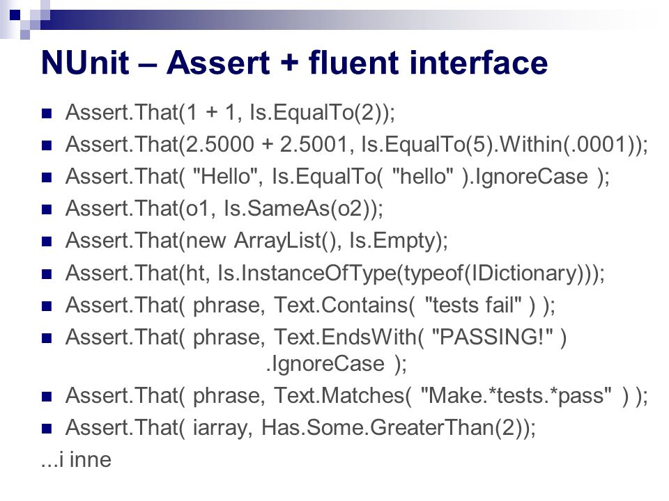 NUnit – Assert + fluent interface