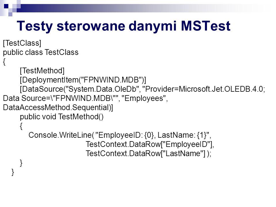 Testy sterowane danymi MSTest