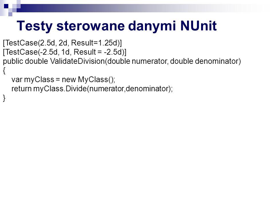 Testy sterowane danymi NUnit