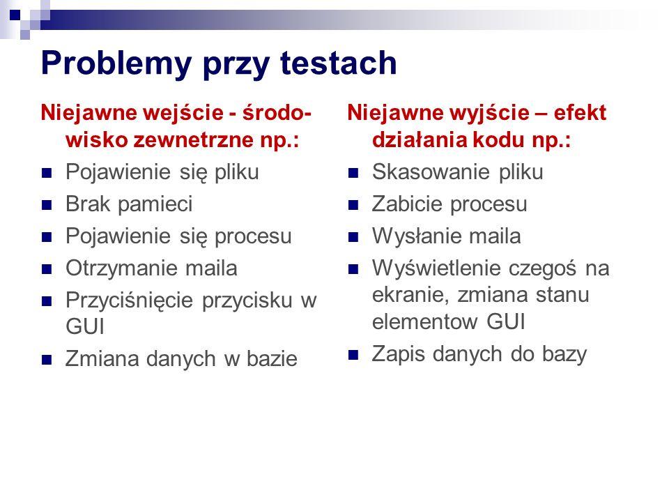 Problemy przy testach Niejawne wejście - środo-wisko zewnetrzne np.: