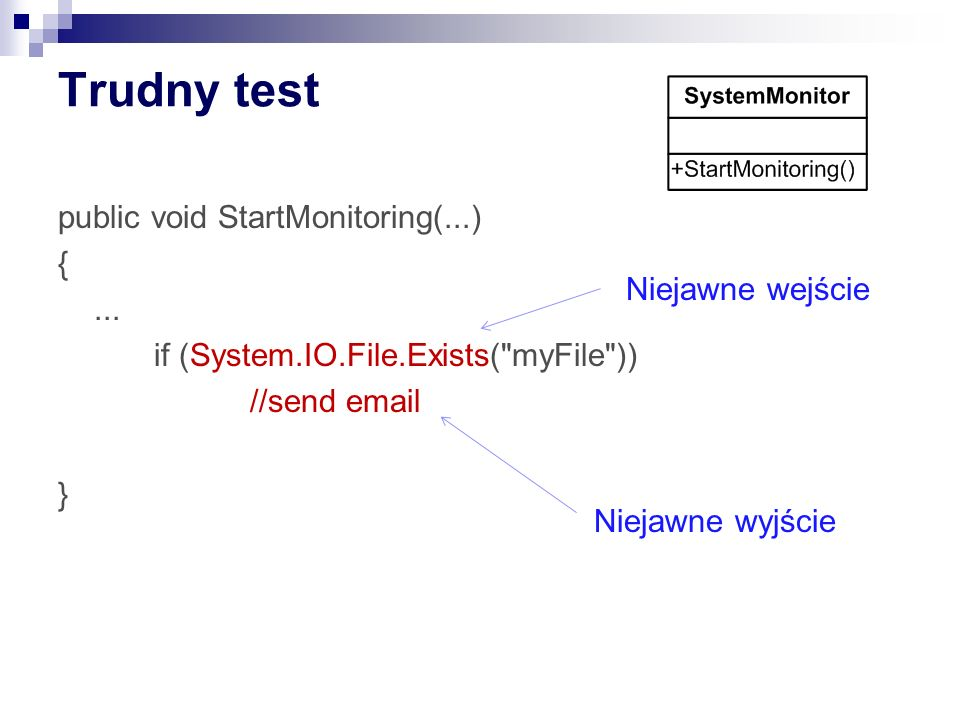 Trudny test public void StartMonitoring(...) { ... if (System.IO.File.Exists( myFile )) //send email }
