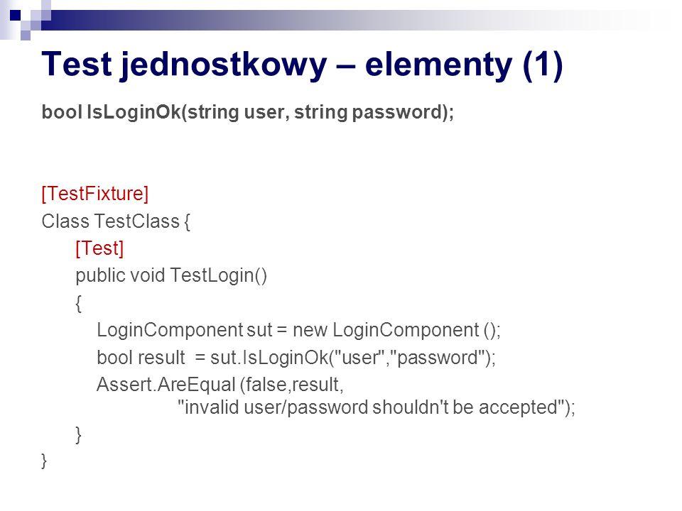 Test jednostkowy – elementy (1)