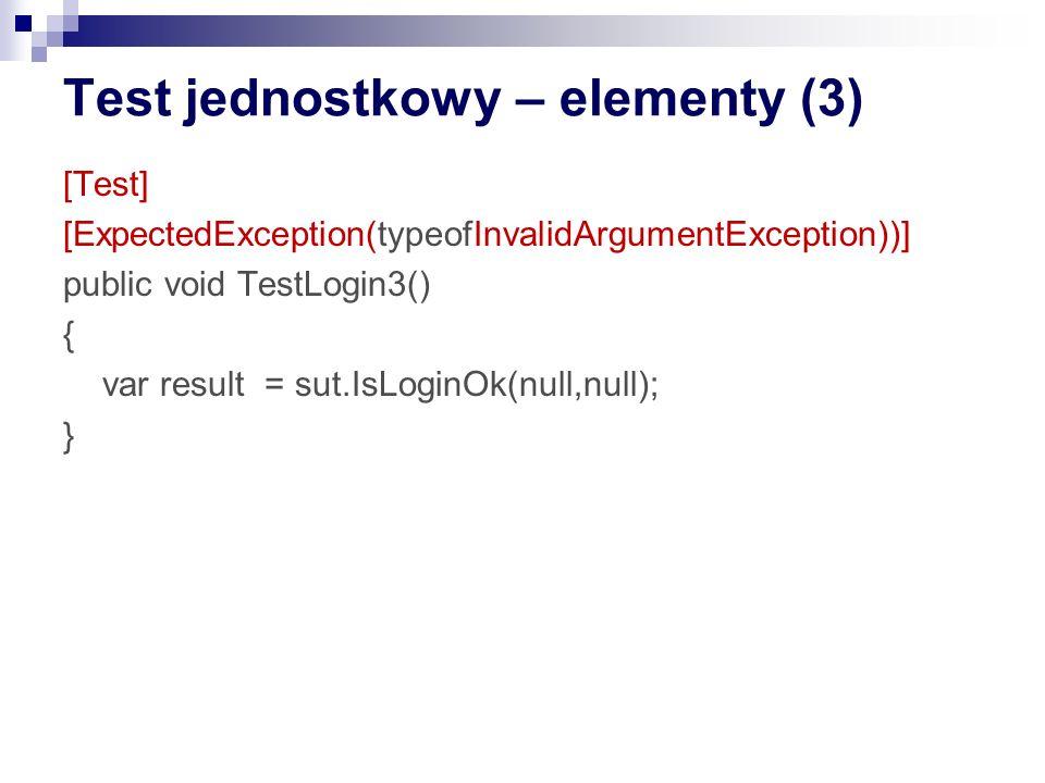 Test jednostkowy – elementy (3)