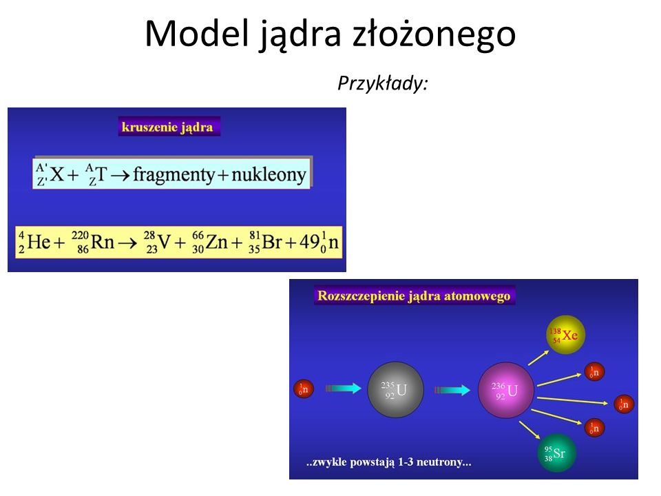 Model jądra złożonego Przykłady: