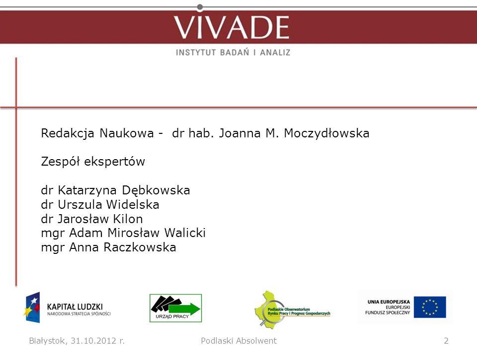 Redakcja Naukowa - dr hab. Joanna M. Moczydłowska Zespół ekspertów