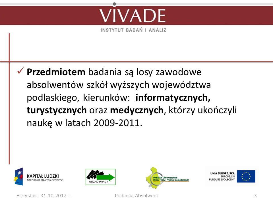 Przedmiotem badania są losy zawodowe absolwentów szkół wyższych województwa podlaskiego, kierunków: informatycznych, turystycznych oraz medycznych, którzy ukończyli naukę w latach 2009-2011.