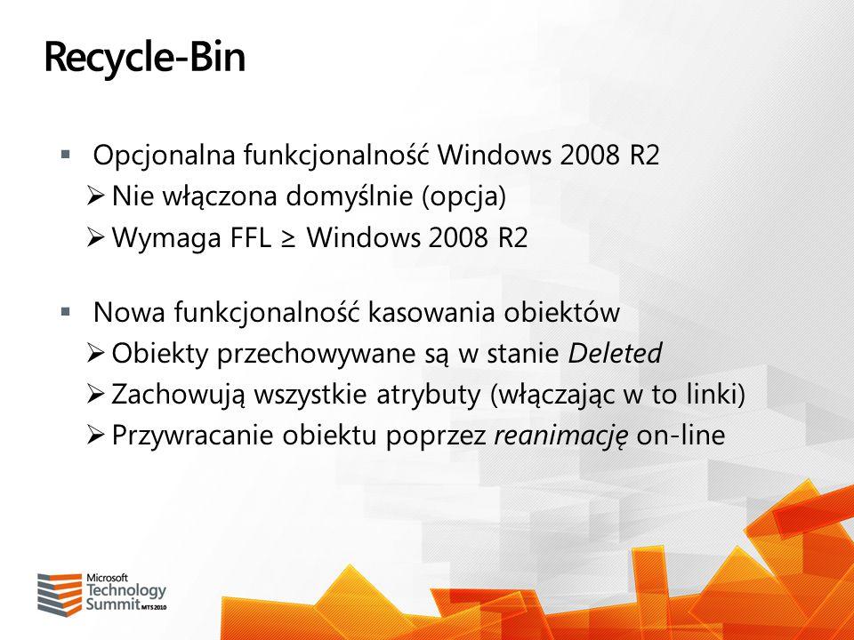 Recycle-Bin Opcjonalna funkcjonalność Windows 2008 R2