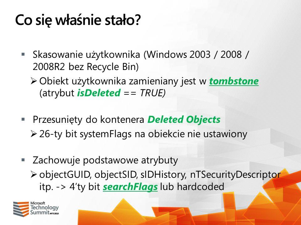 Co się właśnie stało Skasowanie użytkownika (Windows 2003 / 2008 / 2008R2 bez Recycle Bin)