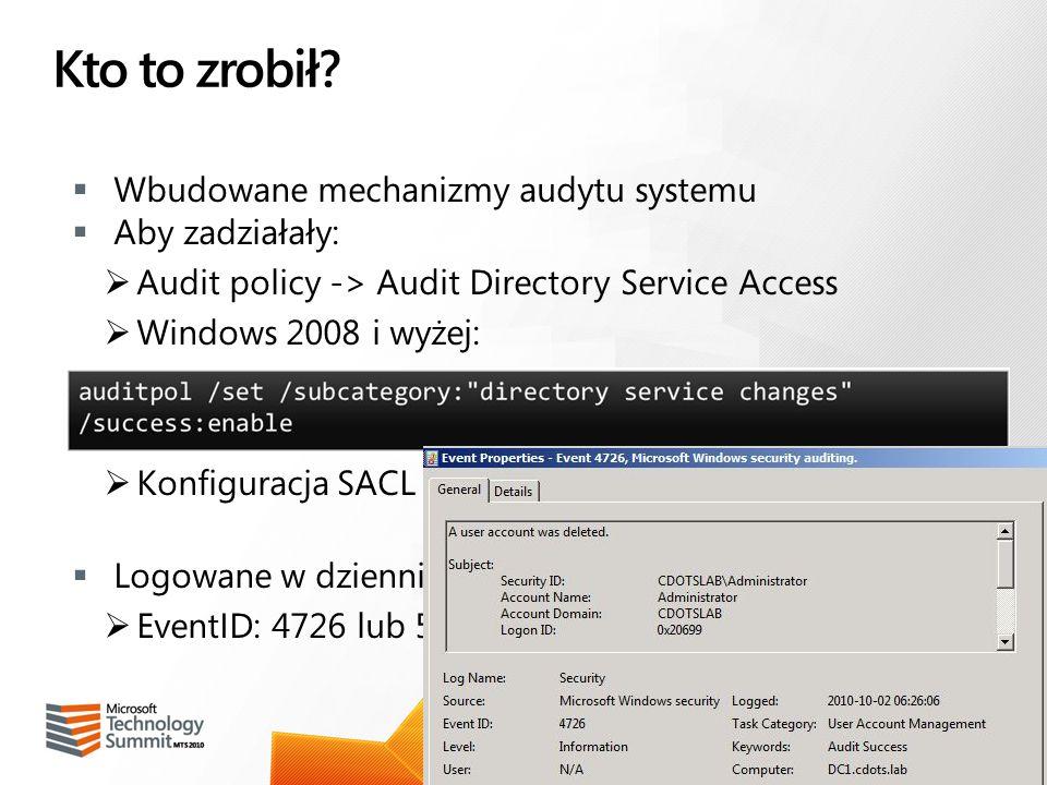 Kto to zrobił Wbudowane mechanizmy audytu systemu Aby zadziałały: