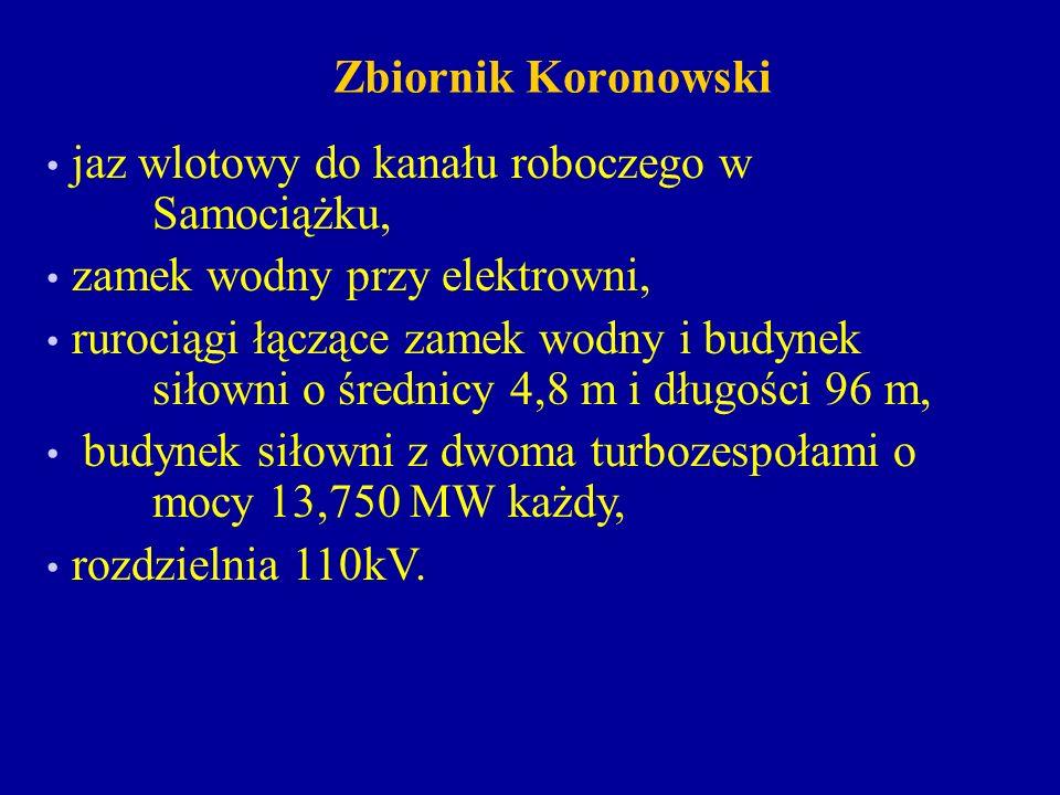 Zbiornik Koronowski jaz wlotowy do kanału roboczego w Samociążku, zamek wodny przy elektrowni,