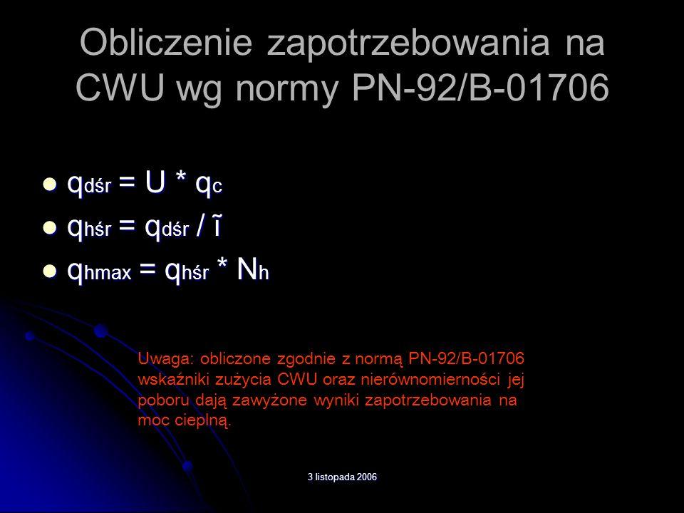 Obliczenie zapotrzebowania na CWU wg normy PN-92/B-01706