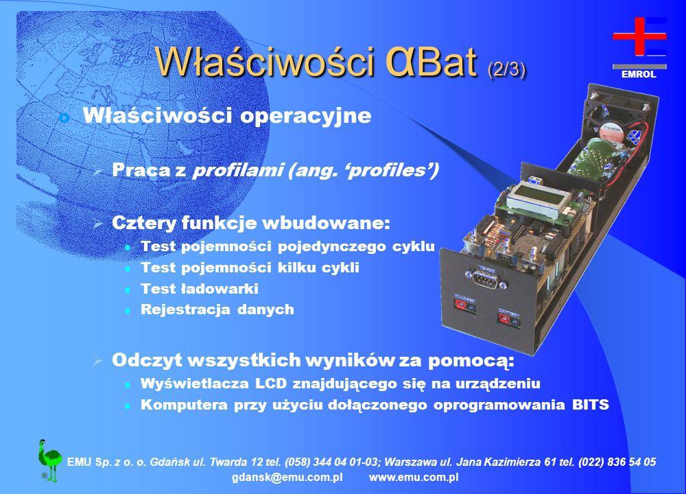 Właściwości αBat (2/3) Właściwości operacyjne