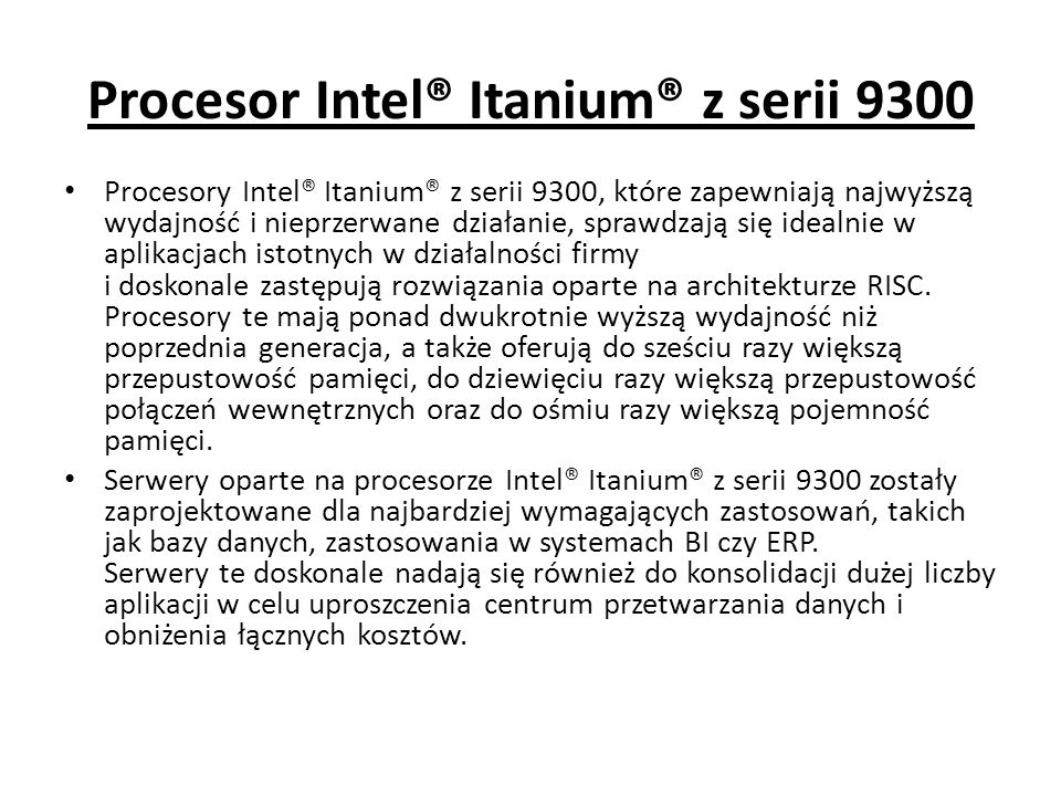 Procesor Intel® Itanium® z serii 9300