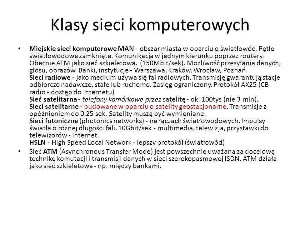 Klasy sieci komputerowych