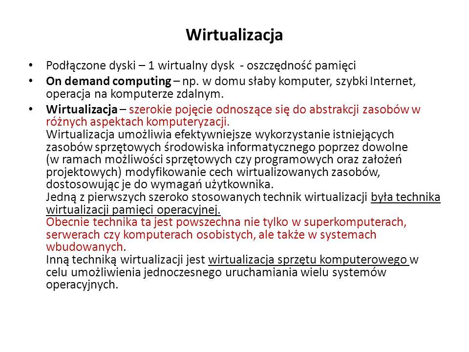 Wirtualizacja Podłączone dyski – 1 wirtualny dysk - oszczędność pamięci.