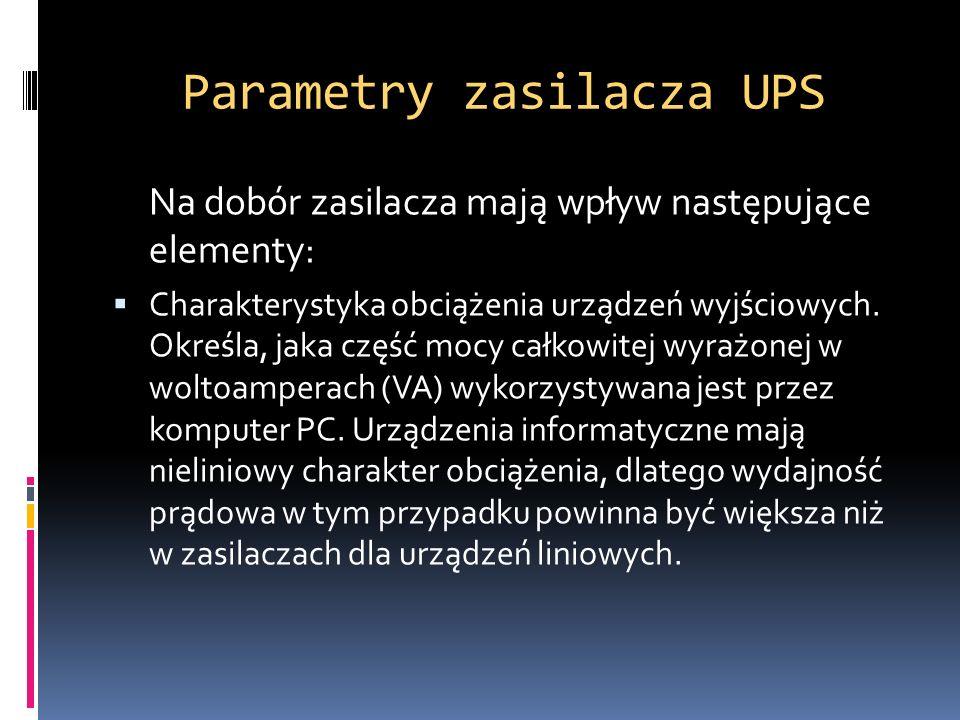 Parametry zasilacza UPS