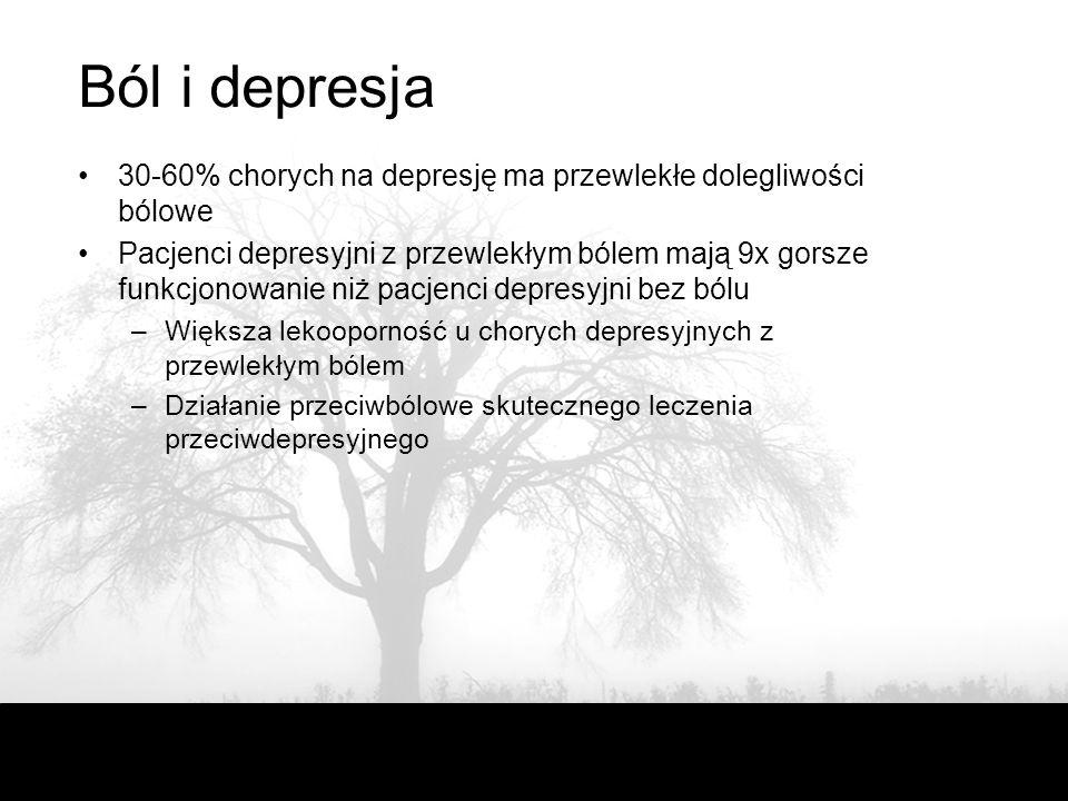 Ból i depresja 30-60% chorych na depresję ma przewlekłe dolegliwości bólowe.