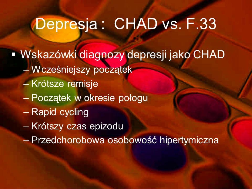 Depresja : CHAD vs. F.33 Wskazówki diagnozy depresji jako CHAD