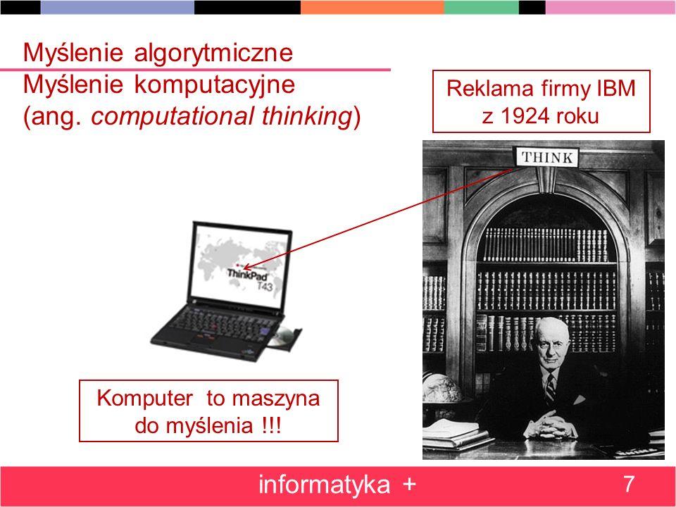 Myślenie algorytmiczne Myślenie komputacyjne (ang