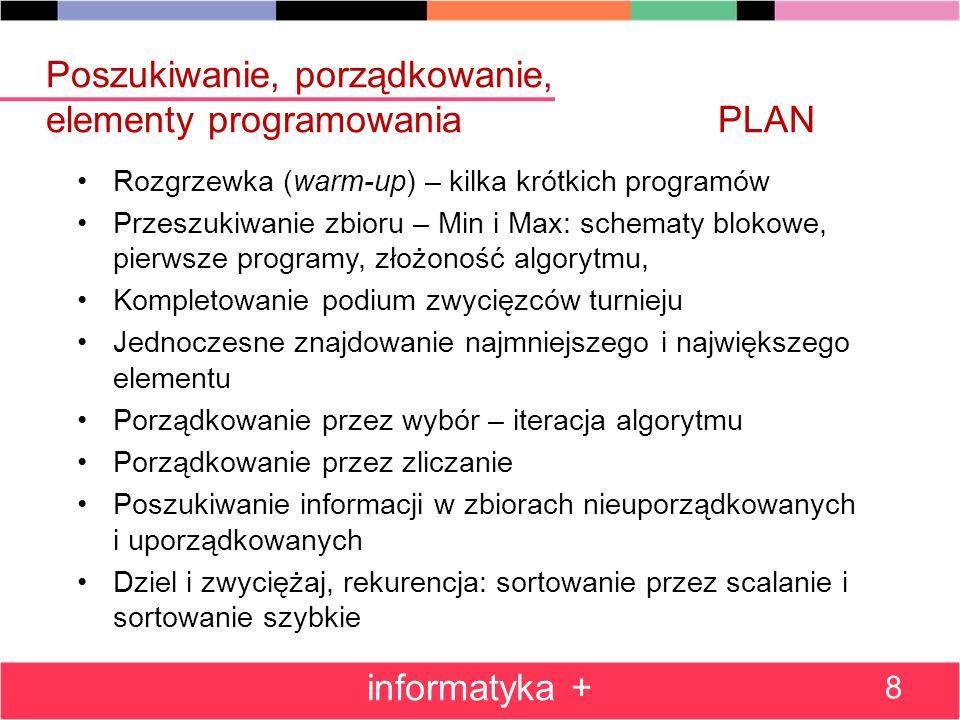 Poszukiwanie, porządkowanie, elementy programowania PLAN