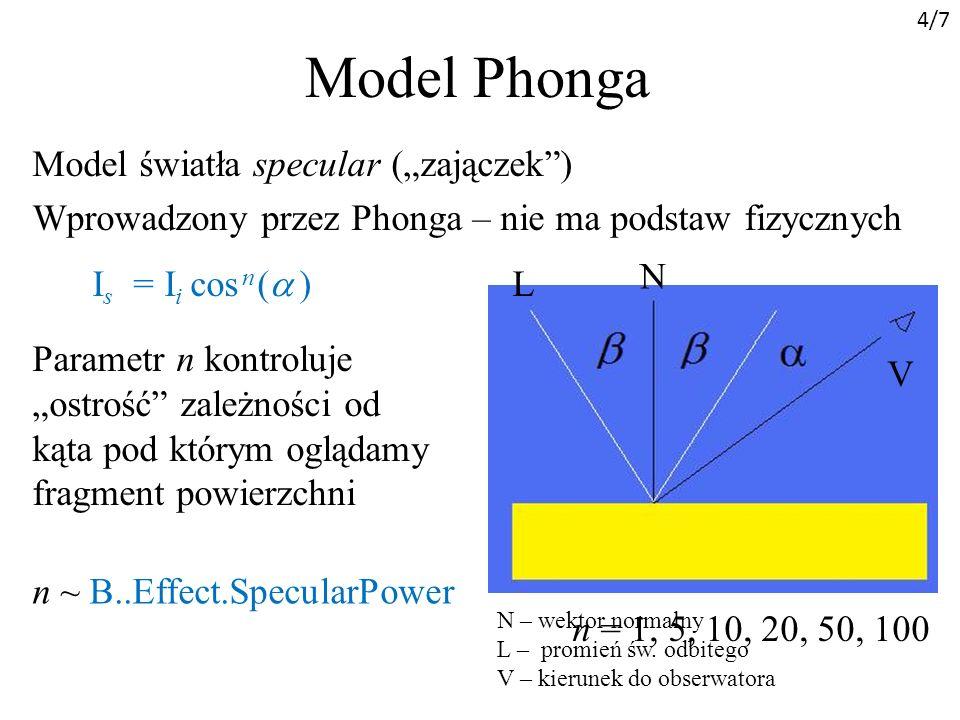 """4/7 Model Phonga. Model światła specular (""""zajączek ) Wprowadzony przez Phonga – nie ma podstaw fizycznych"""