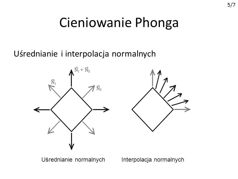 Cieniowanie Phonga Uśrednianie i interpolacja normalnych 5/7