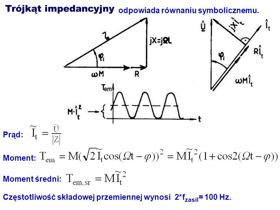 Trójkąt impedancyjny odpowiada równaniu symbolicznemu. Prąd: Moment: