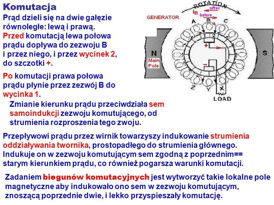 Komutacja Prąd dzieli się na dwie gałęzie równoległe: lewą i prawą.