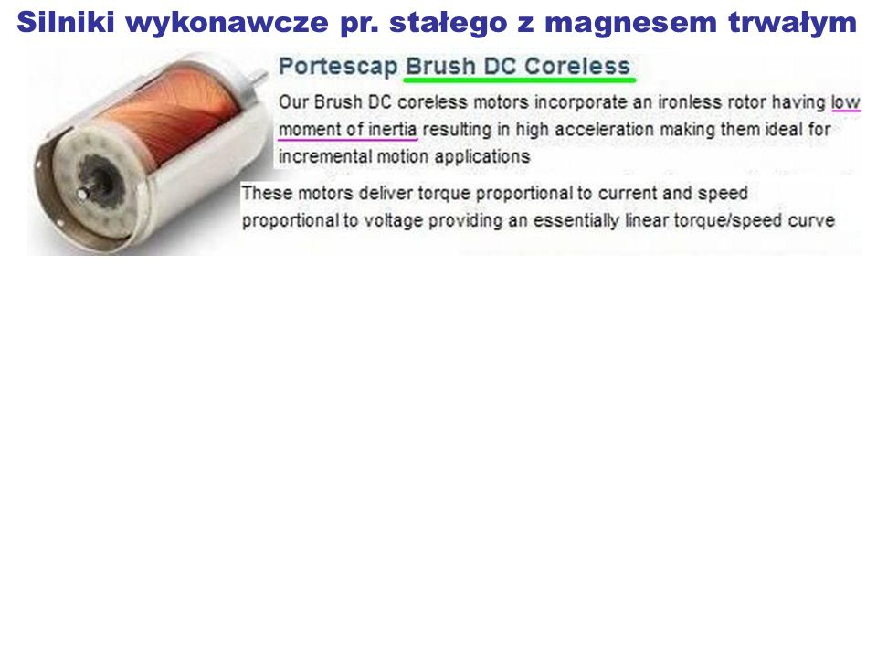 Silniki wykonawcze pr. stałego z magnesem trwałym