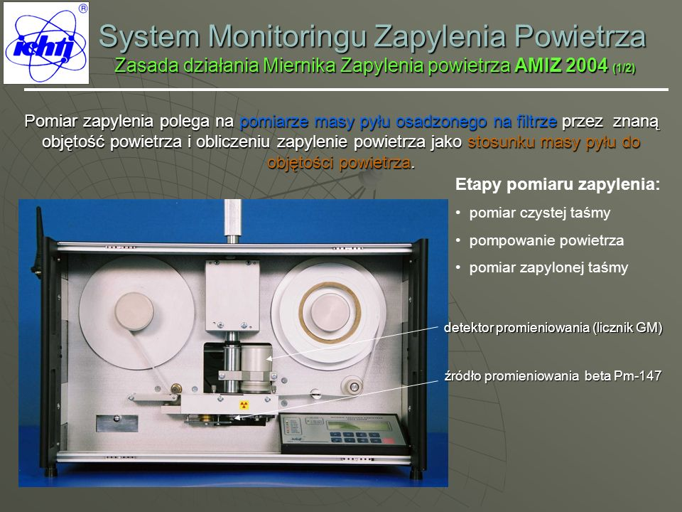 System Monitoringu Zapylenia Powietrza Zasada działania Miernika Zapylenia powietrza AMIZ 2004 (1/2)