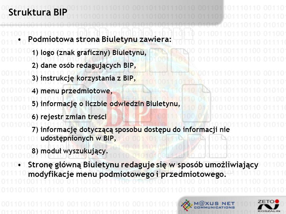 Struktura BIP Podmiotowa strona Biuletynu zawiera: