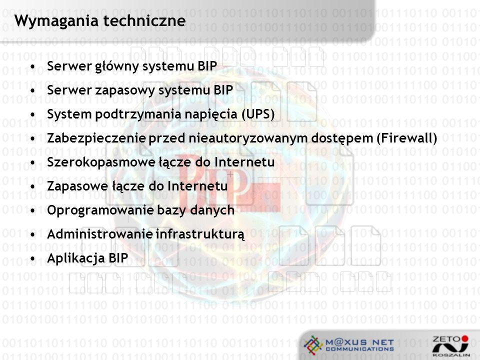 Wymagania techniczne Serwer główny systemu BIP