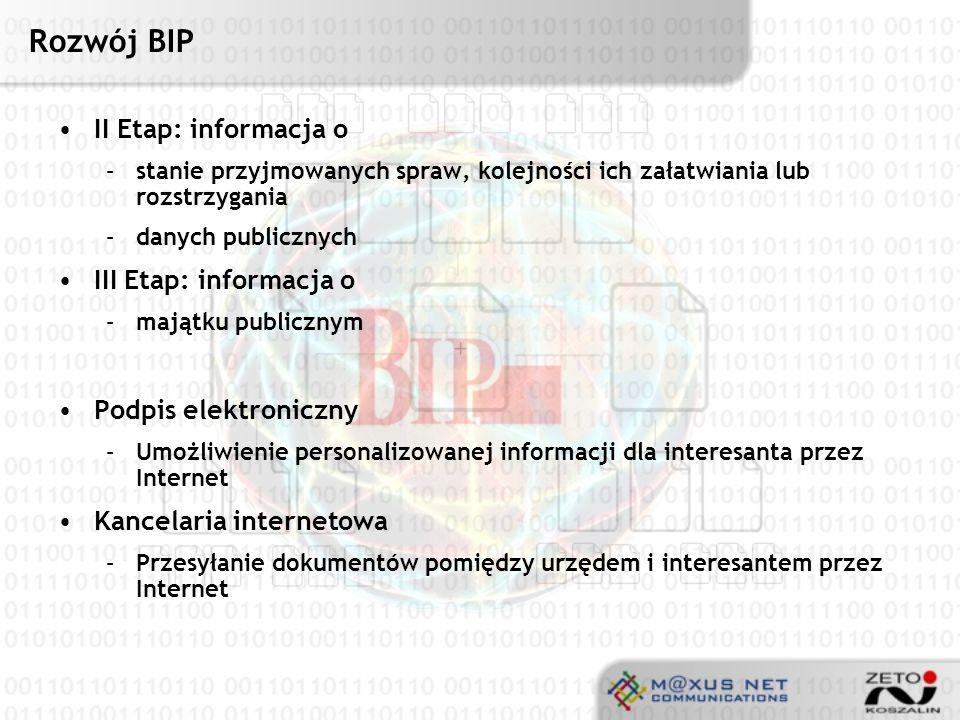 Rozwój BIP II Etap: informacja o III Etap: informacja o