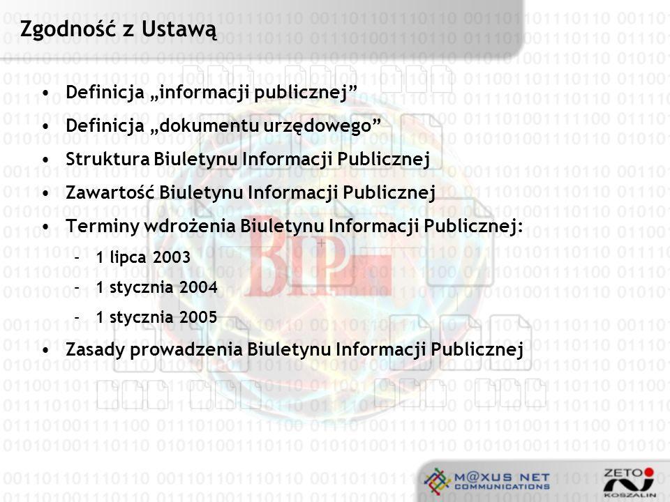 """Zgodność z Ustawą Definicja """"informacji publicznej"""