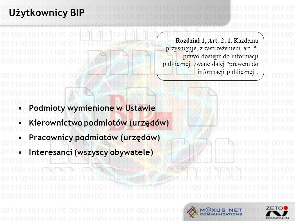 Użytkownicy BIP Podmioty wymienione w Ustawie