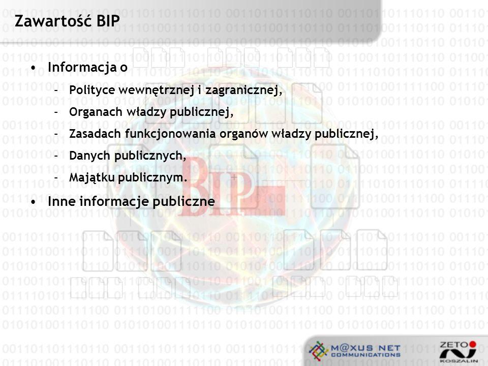 Zawartość BIP Informacja o Inne informacje publiczne