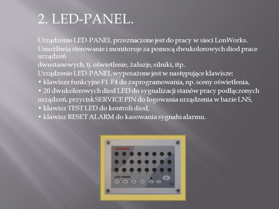 2. LED-PANEL. Urządzenie LED-PANEL przeznaczone jest do pracy w sieci LonWorks.