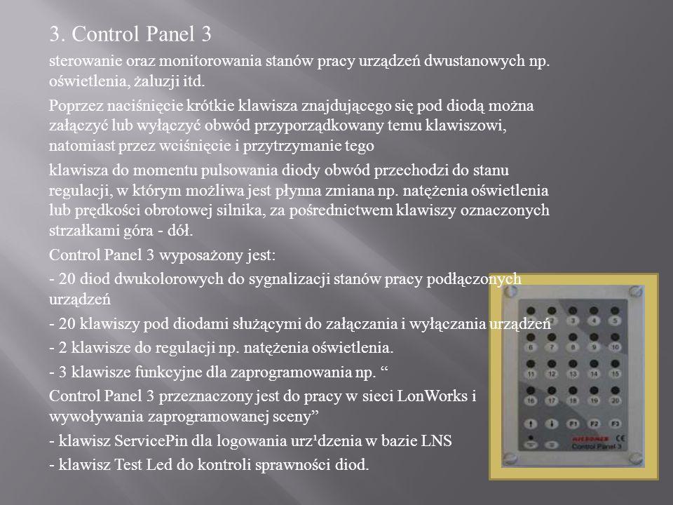 3. Control Panel 3 sterowanie oraz monitorowania stanów pracy urządzeń dwustanowych np. oświetlenia, żaluzji itd.