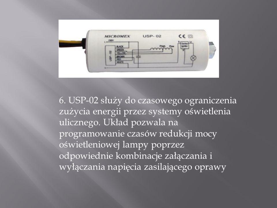 6. USP-02 służy do czasowego ograniczenia zużycia energii przez systemy oświetlenia ulicznego.