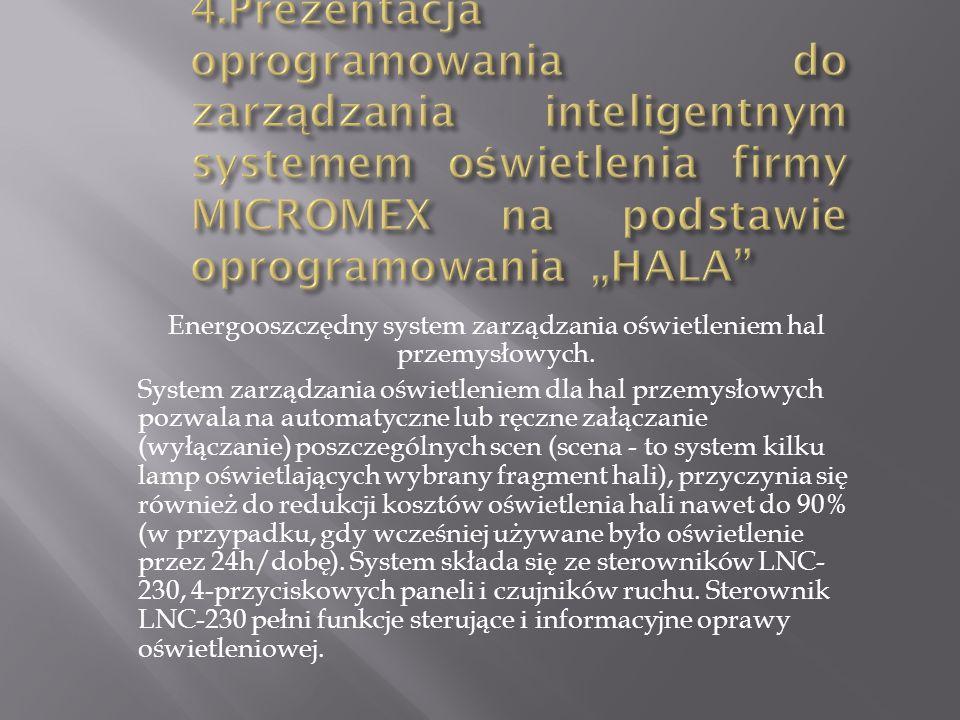 Energooszczędny system zarządzania oświetleniem hal przemysłowych.