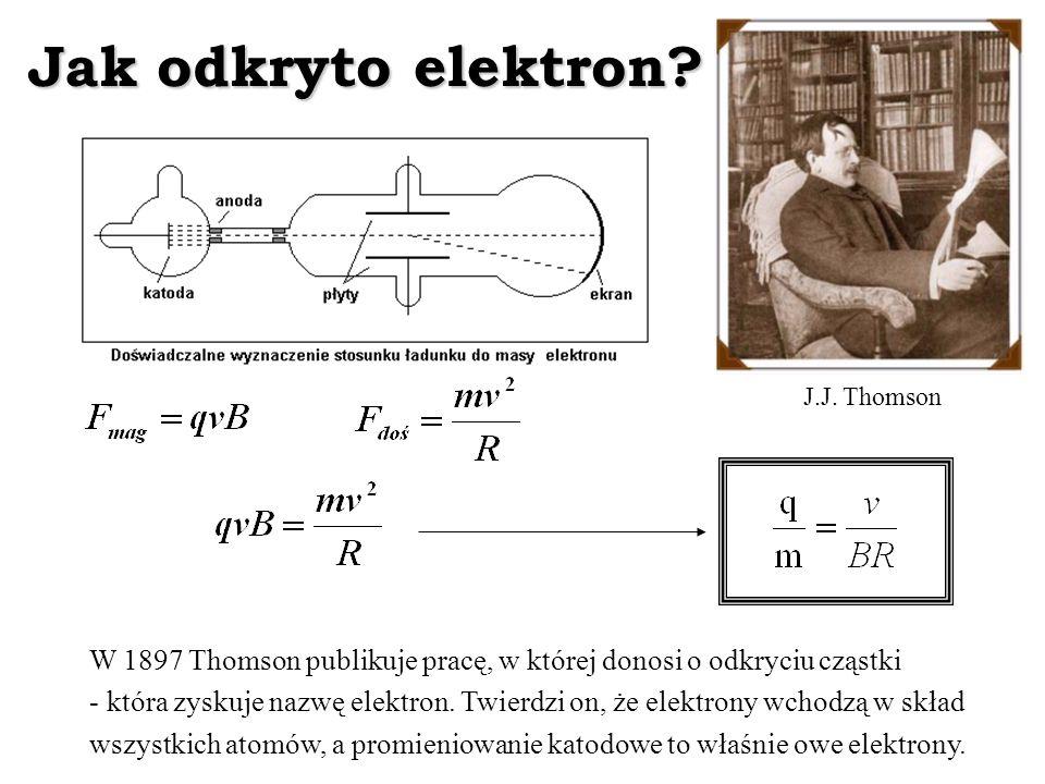 Jak odkryto elektron J.J. Thomson. W 1897 Thomson publikuje pracę, w której donosi o odkryciu cząstki.