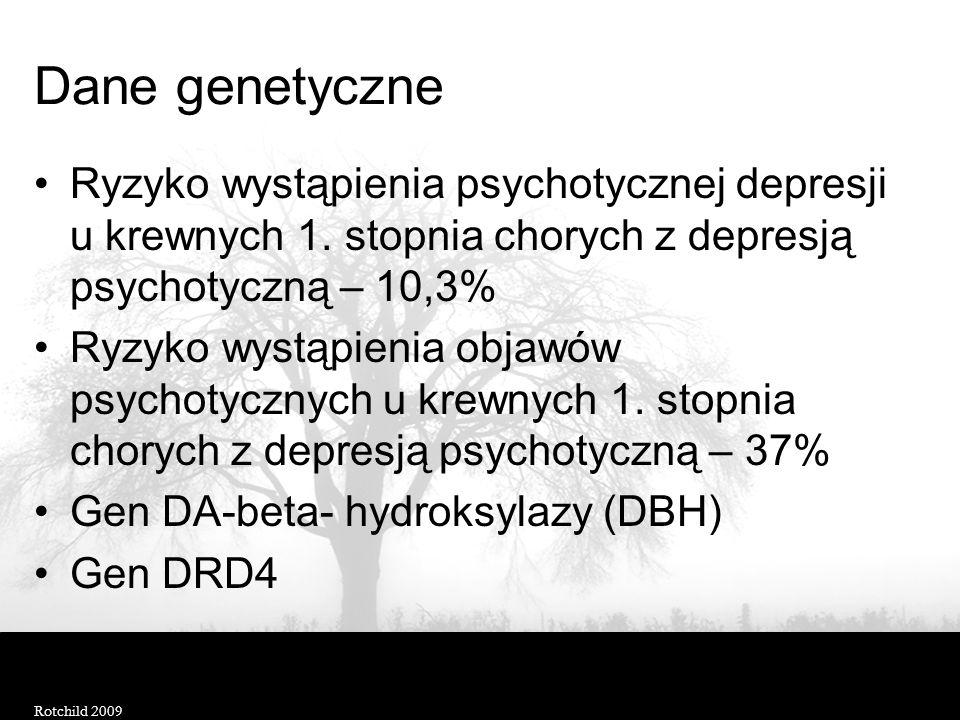 Dane genetyczne Ryzyko wystąpienia psychotycznej depresji u krewnych 1. stopnia chorych z depresją psychotyczną – 10,3%