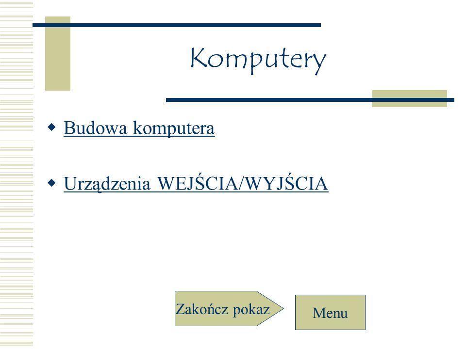 Komputery Budowa komputera Urządzenia WEJŚCIA/WYJŚCIA Zakończ pokaz