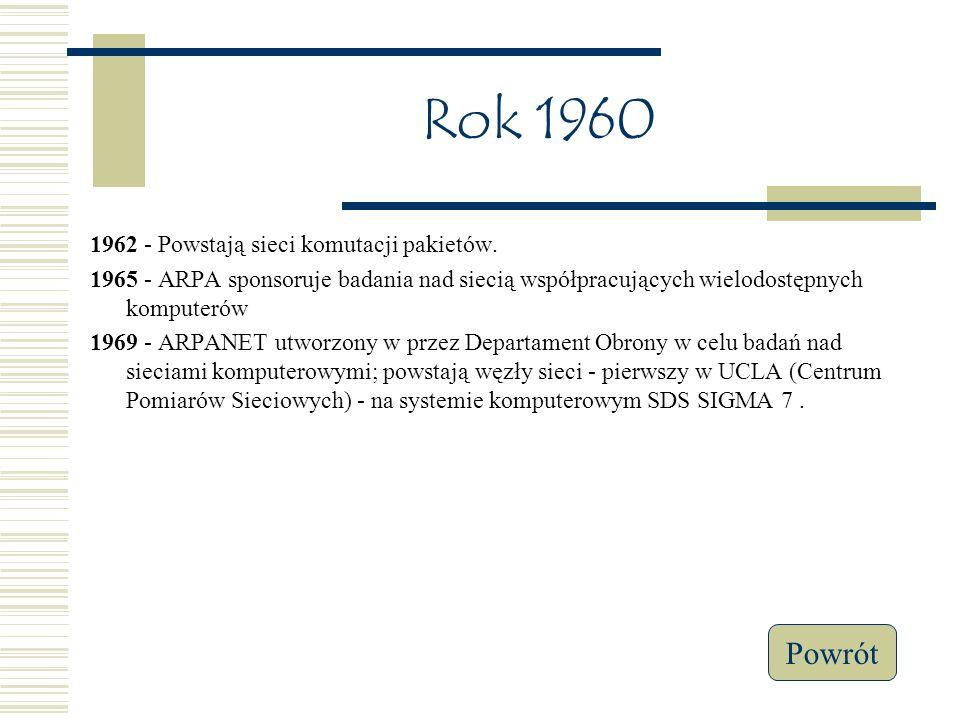 Rok 1960 Powrót 1962 - Powstają sieci komutacji pakietów.