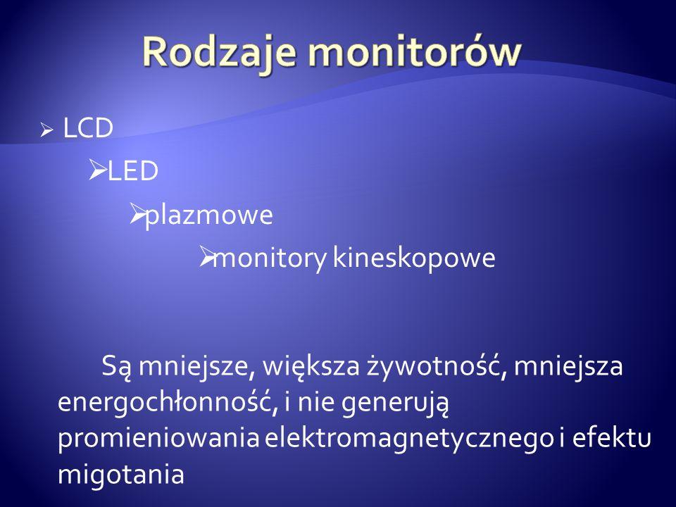 Rodzaje monitorów LCD LED plazmowe monitory kineskopowe