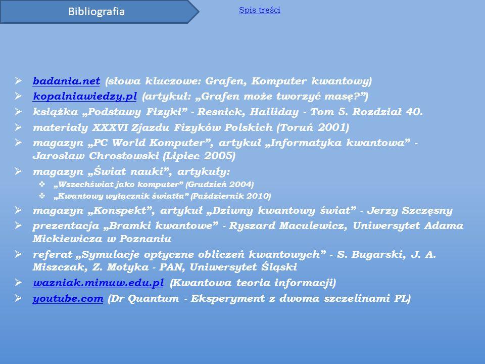 Bibliografia badania.net (słowa kluczowe: Grafen, Komputer kwantowy)
