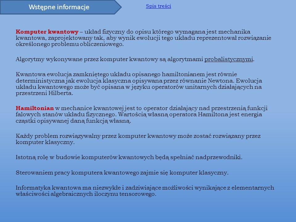 Wstępne informacje Spis treści.