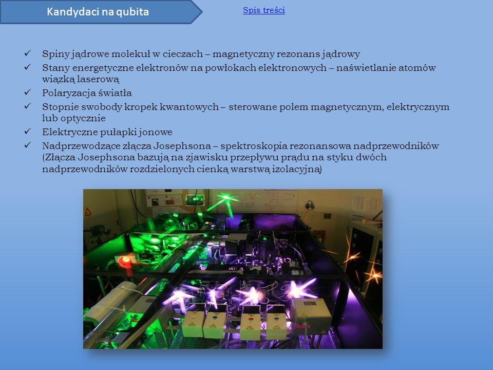 Kandydaci na qubita Spis treści. Spiny jądrowe molekuł w cieczach – magnetyczny rezonans jądrowy.