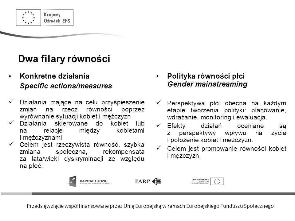 Dwa filary równości Konkretne działania Specific actions/measures